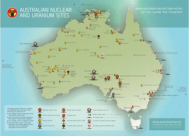 Australian Nuclear and Uranium Sites Print Map