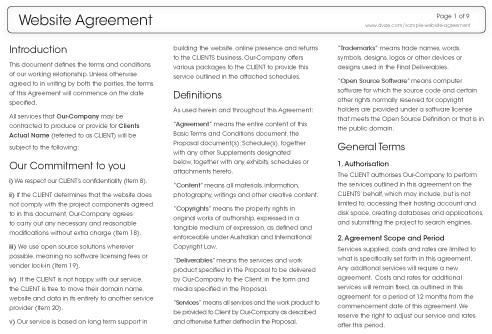 Sample Website Agreement Dvize Creative